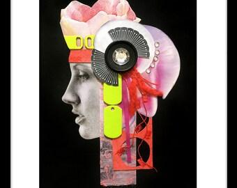 DIGITAL PRINT 5x7, black & white fashion pic, scrapbooking chips, magazine cut-outs, crystals, buttons, felt, ribbon 'Artemis'