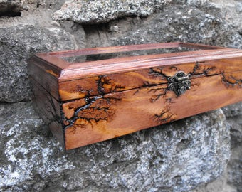 Case Wood Watch Box Lichtenberg Figure Wood Burning