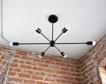 Large 36in. Modern Matte Black Starburst Chandelier 6 Arm Pinwheel Bulb Sputnik Mid Century Dining Room Hanging Light UL Listed