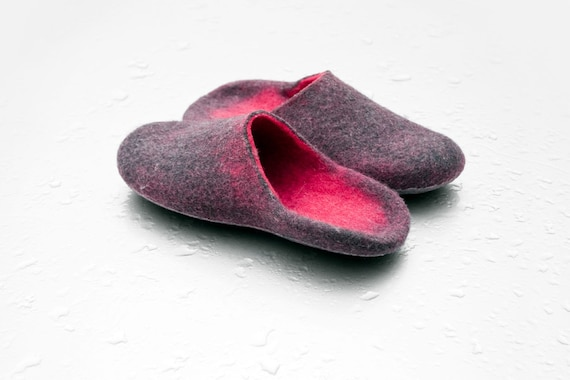 with flowers slippers wool slippers and rose Handmade Warm Mothers felted open heel slippers pink brooches day gift with slide for women gxIP5Xq