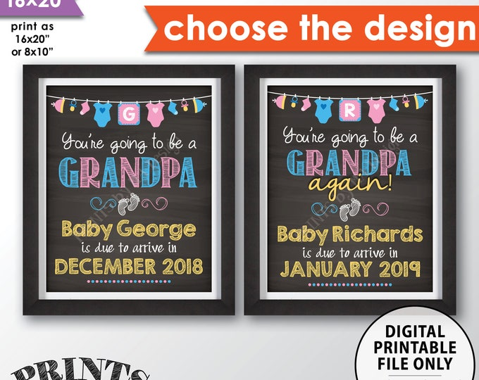 "Going to be a GRANDPA Pregnancy Announcement, Grandpa Again, Grandfather, Papa, We're Pregnant, PRINTABLE 8x10/16x20"" Chalkboard Style Sign"