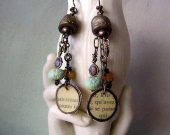 mixed media earrings, Baltic amber, torch fired enamel, ceramic beads, vintage text, assemblage, narrative jewelry, ooak, AnvilArtifacts