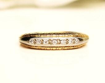 Art Deco Diamond Wedding Ring 0.07ctw Petite Diamond Antique Wedding Band 14K Two Tone Gold Stacking Ring Ladies Thin Wedding Band Size 4.25