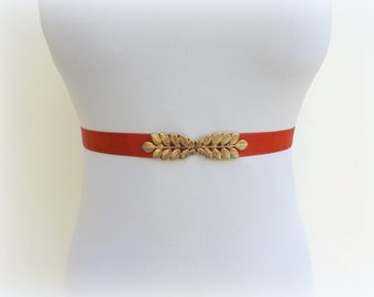 Red elastic waist belt. Dress belt. Greek belt. Bridal belt. Bridesmaids belt. Gold leaf belt. Grecian belt. Stretch belt. Skinny belt.