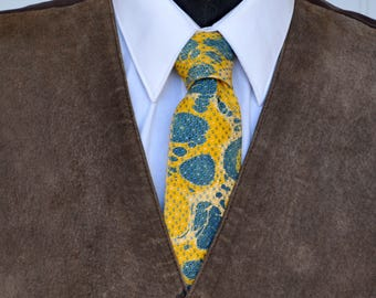 Upcycled Marbled Neck Tie 100% Silk, Blue, and Yellow Spots, Circles, Contemporary, Hipster, Bold, Stylish, #69-17