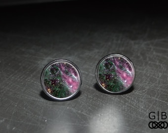 Wizard of Oz Studs Galaxy Earrings Jewelry - Wizard of Oz Earrings Studs Wizard of Oz Jewelry - Purple and Green Studs - Wizard Studs