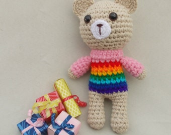 Rainbow Baby Crochet Rattle Crochet Teddy Bear New Baby Gift Baby Shower Gift Baby Rattles Crochet toy Teddy Bear Rainbow Animals Eco Toys