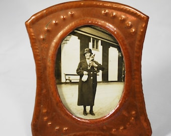 Vintage Art and Crafts Picture Frame; Copper Frame; Photo of Edwardian Woman Holding Dog