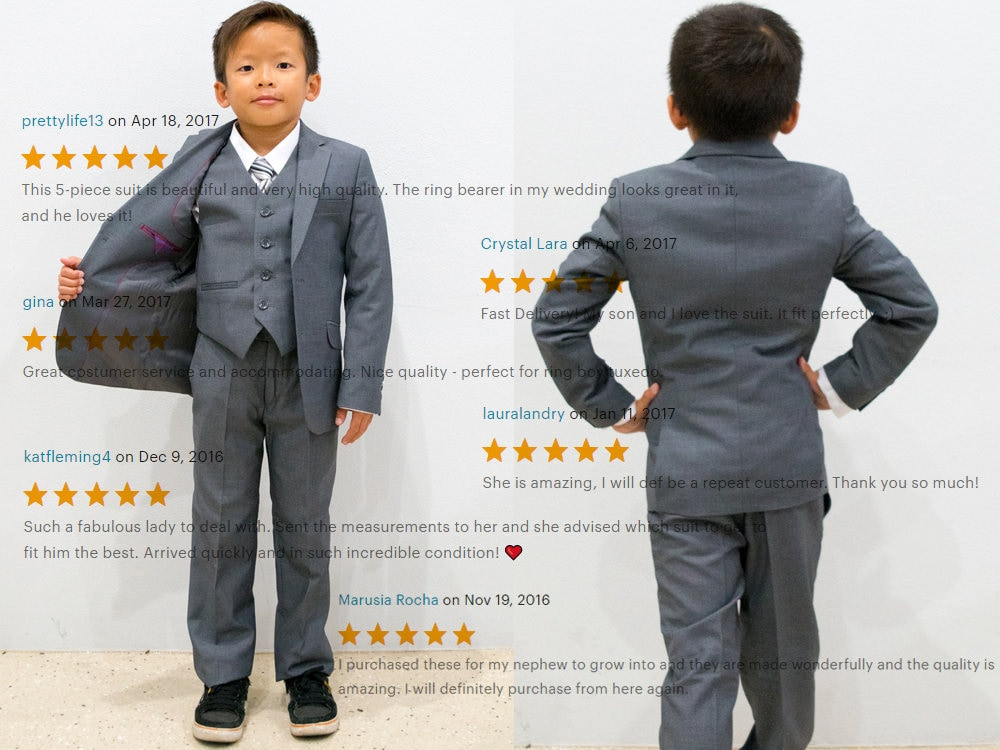 Slim Fit Premium Boys 7-Piece Suit Tuxedo, Gray Navy Indigo Royal ...