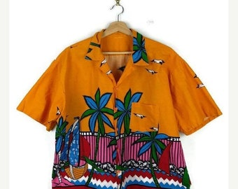 ON SALE Vintage Men's Orange/Pink Cotton Hawaiian shirt from 90's