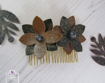 Leather Flowers Hair Comb, Brown Flowers Hair Comb, UK