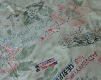 VINTAGE 1980's Military Style Print Fabric - available