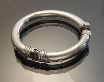 HEFTY Solid Silver Bangle Bracelet Tribal  Ethnic