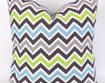 Chevron Pillow Cover -MANY SIZES- Zoom Zoom Mantis Macon -  zigzag baby blue lime green tan brown - throw cushion euro sham custom