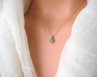 Gold plated Turquoise charm necklace, layering, blue, gift, boho, bohemian, flower
