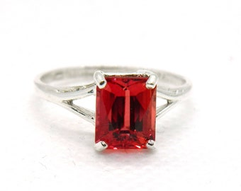 Natural Mined  Emerald Cut Pasparadscha  2.4 ct Sapphire Sterling Silver Ring