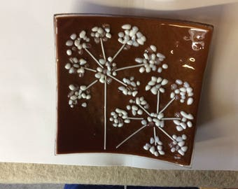 Fused glass flower pattern shallow bowl