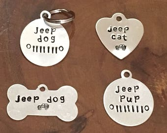 Jeep Dog Tag, Jeep Dog, Jeep Dog Collar Tag, Jeep Pup, Jeep Lover gift, Handstamped Dog Collar Tag, Jeep cat, Dog Tag, Jeep Dog Collar, Jeep