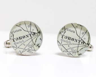 Antique Map Cufflinks Toronto Ontario Canada