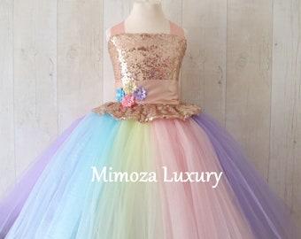 Flower girl dresses etsy uk luxury unicorn birthday dress unicorn tutu dress rainbow unicorn girls dress sequins unicorn mightylinksfo