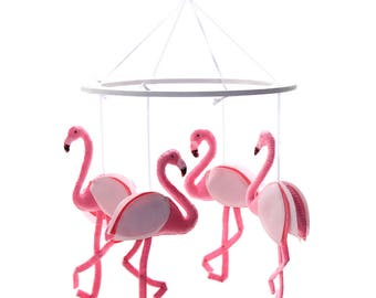 Pink Flamingo Nursery Mobile