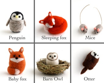 DIY Kit - Pick any 2 Animals - Needle Felting Kit - Needle Felted Miniature Animal Kit - Gift Craft Kit