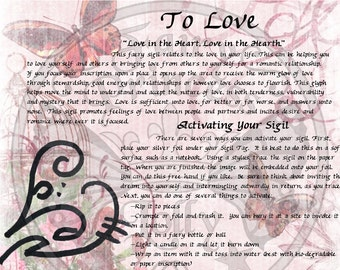 Faery LOVE Glyph SIGIL, Instant Download Page Grimoire Urban An Leabhar Book of Secrets, Glamerie Pages, BOS