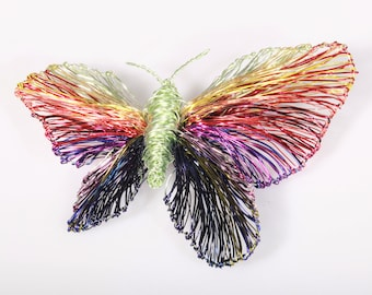 Wire sculpture, rainbow butterfly brooch, large, colorful, dress brooch, modern hippie, insect, statement jewelry, Spring, bridesmaid gift