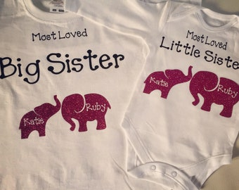 Big sister/brother little sister/brother matching personalised tshirt and vest set
