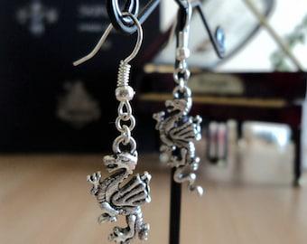 Earrings - silver - dragon 4.5 cm
