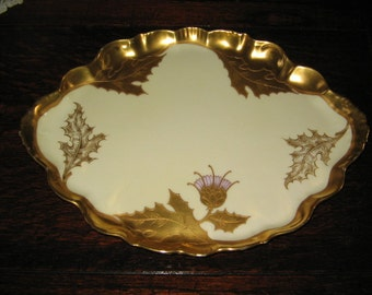 SALE ANTIQUE LIMOGES  Tray, Elite Works, France, Hors D'oevures Tray, Vanity Tray, Thistle Design