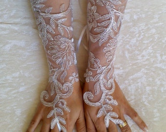 Long Ivory silver bridal gloves wedding  lace gloves fingerless gloves ivory gloves guantes french lace silver gloves free ship