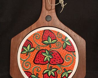 Vintage Strawberry Trivet Cutting Board Wooden and Ceramic 1970's Strawberry Design SALE PRICE was 15.00 now 12.99