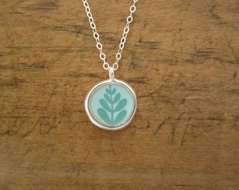 Leaf Necklace - Mountain Necklace - Wear 2 Ways - Sterling Silver and Vitreous Enamel Necklace in Robin's Egg Blue and Violet