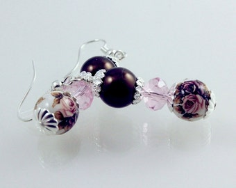 Pink and Brown Rose Tensha Earrings