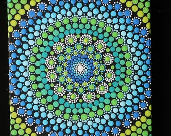 "Hand painted green and blue mandala on canvas 4"" x 4"" dot pointillism art"