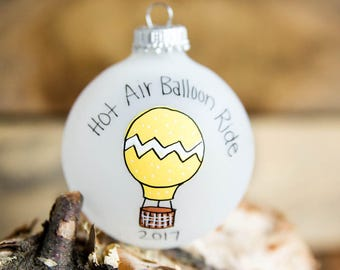Hot Air Balloon Ride - Personalized Christmas Ornament