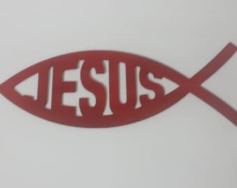 CNC Plasma Cut Jesus Fish Metal Sign Powder Coated or Raw Steel