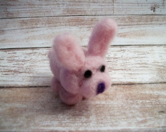 Tiny Rabbit, Mini Bunny Figure, Small Plush, Handmade Animal, FeltWithAHeart