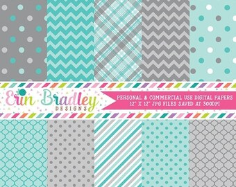 80% OFF SALE Digital Scrapbook Papers Personal and Commercial Use Blue and Grey Medley