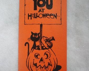 Vintage Bright Orange and Black Unused Halloween Card Hallmark Contemporary Card Twitchy Witchy Halloween Card Black Cat Halloween