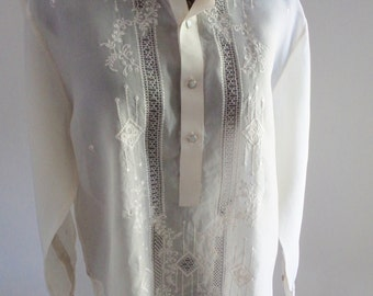 embroidered top, boho shirt, EXCEPTIONAL EMBROIDERY, boho clothing, embroidered shirt, beige lace top, long sleeve shirt