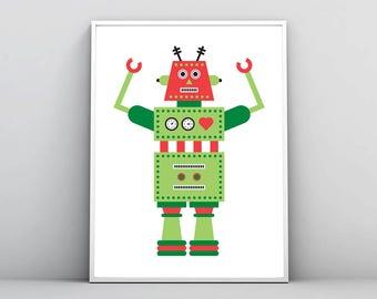 Robot Print, Prints For Boys, Nursery Wall Art, Kids Room Decor, Printable Art, Large Poster, Robot Illustration, Robot Art,Digital Download