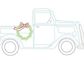 Vintage Stitch Truck With Christmas Wreath