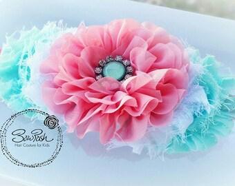 Ginger- Ruffle flower headband, flower headband, mint and coral headband, shabby chic headband, shabby flower headband, mint headband