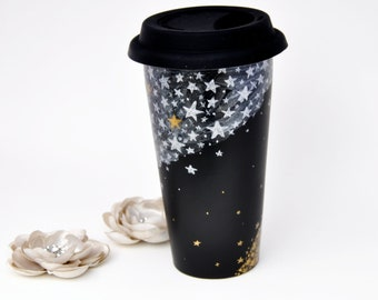 Black Ceramic Travel Mug - Made to Order -  Silver and Gold Stars Chalkboard Eco Cup - Silicon Lid