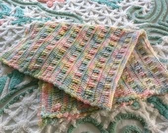 Hand Crocheted Baby Blanket Afghan, Multi color Pastels, 26 x 34