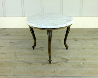 Vintage Brass Carrara Marble Brass Tripod Leg Hollywood Regency Coffee Side Table Neoclassical 70's French Louis XVIa