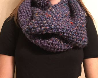 Knit Multicolor Blue Infinity Scarf