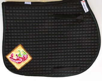 Be Fiery! Black Saddle Pad for Jumping and Cross Country with Chili Peppers HA-81